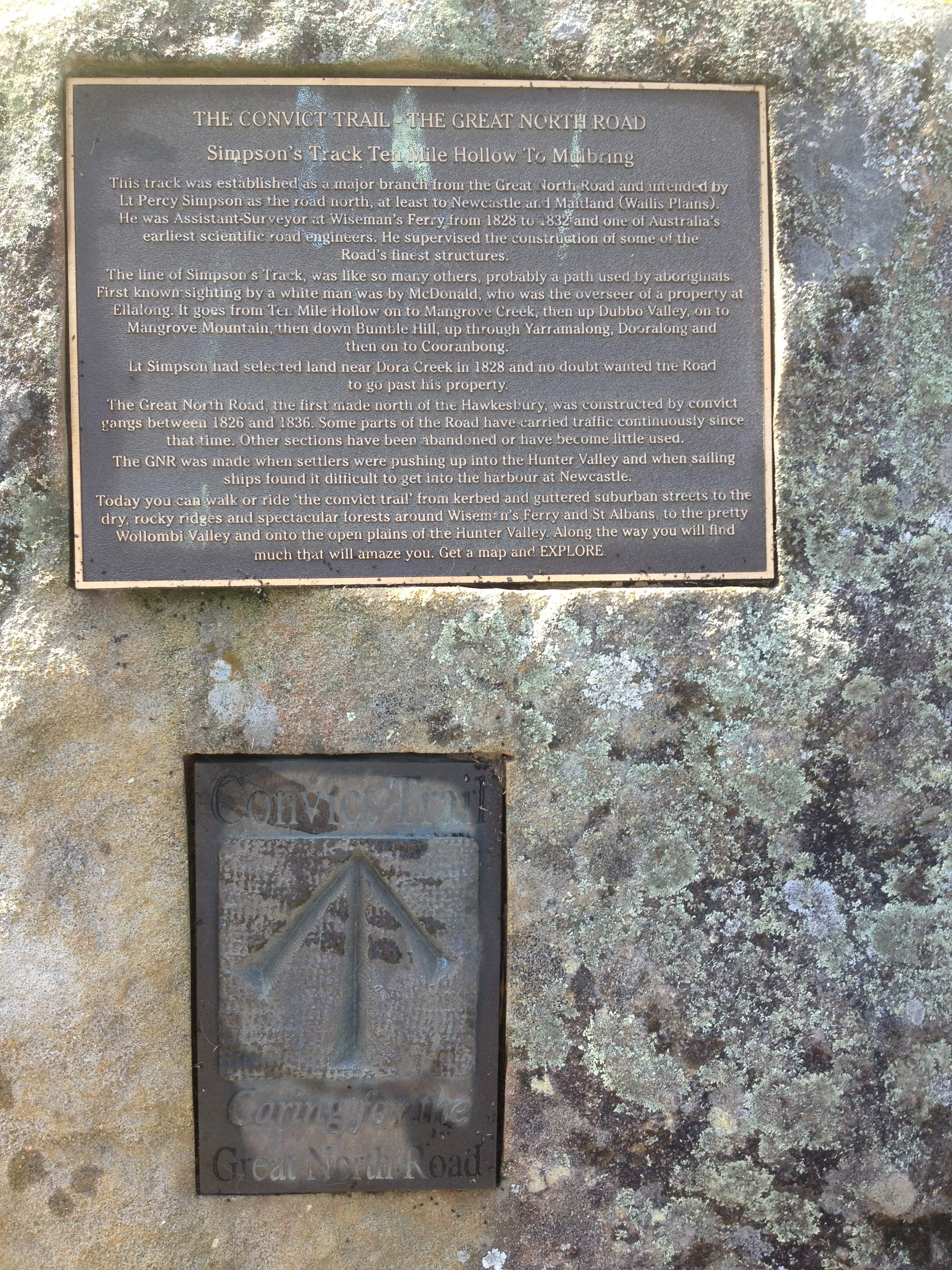 Plaque at Ten Mile Hollow flat