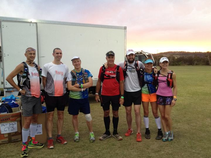 L-R- Adam Connor, Adam Darwin, Rob Mattingly, Martyn Dawson, Rocco Smit, Jennie Sharland Riggs, Aileen Waldron. Only 2 of these people would finish their race....
