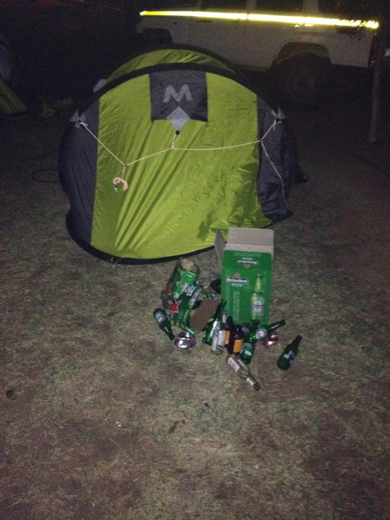 Of course we stashed all the empties outside Hoot's tent.....