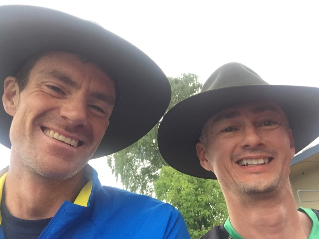 Andrew Tuckey and Adam, the similarity ends at the Akubra!